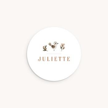 Sticker Enveloppe Naissance Oiseau des sous-bois, prénom personnalisé