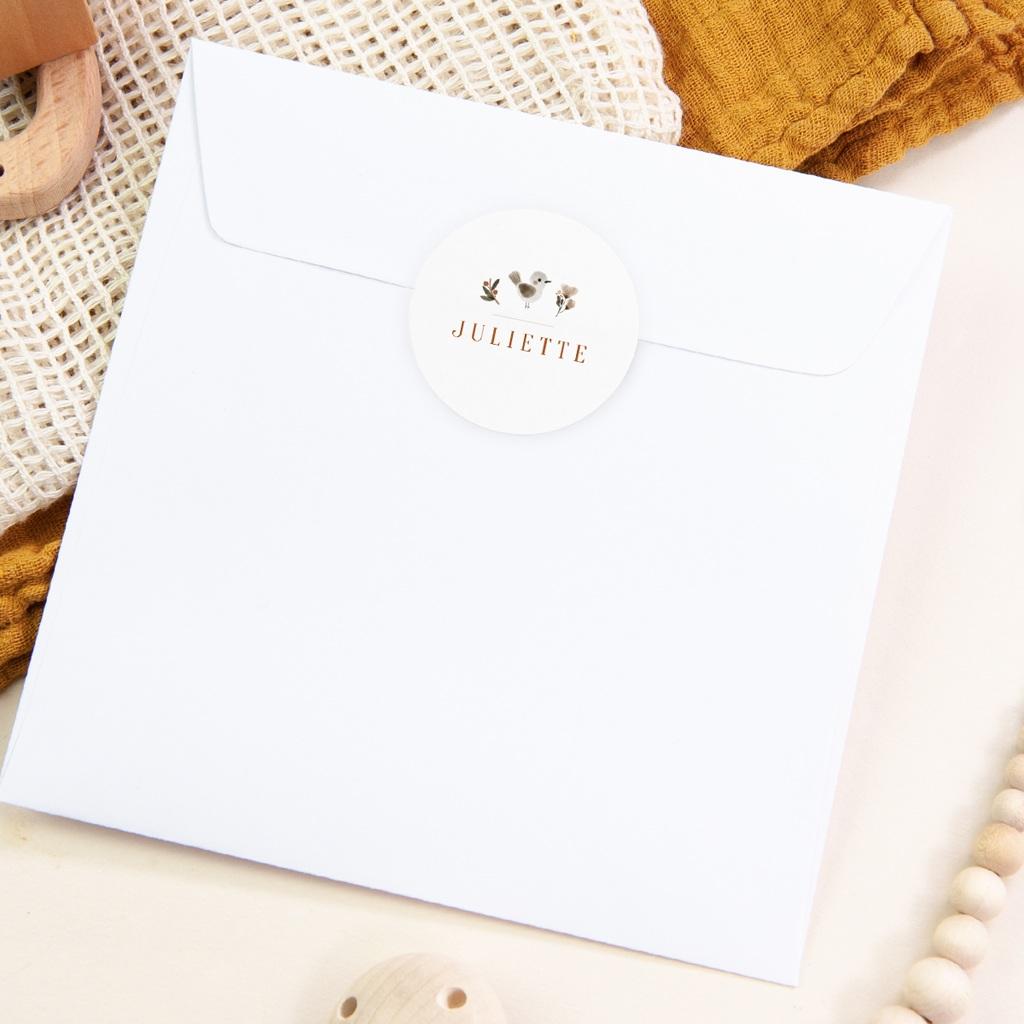 Sticker Enveloppe Naissance Oiseau des sous-bois, prénom pas cher