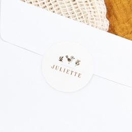 Sticker Enveloppe Naissance Oiseau des sous-bois, prénom gratuit