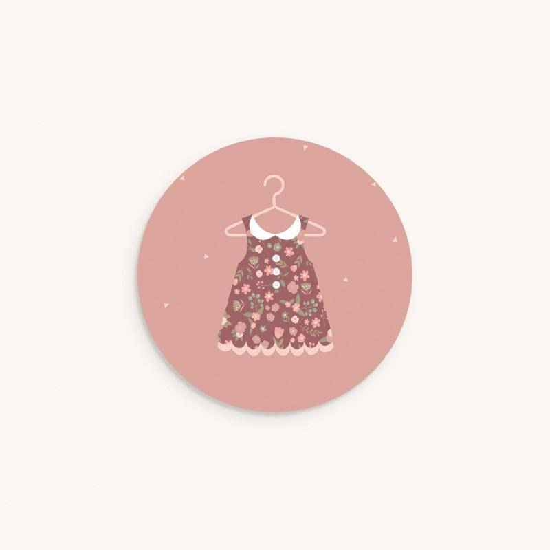 Sticker Enveloppe Naissance Petite Robe, rose poudré