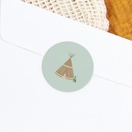 Sticker Enveloppe Naissance Bohème Garçon, tente d'indien gratuit