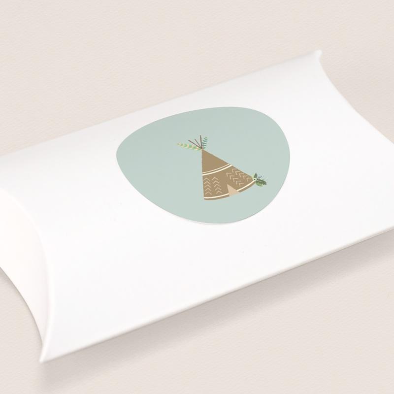 Sticker Enveloppe Naissance Bohème Garçon, tente d'indien