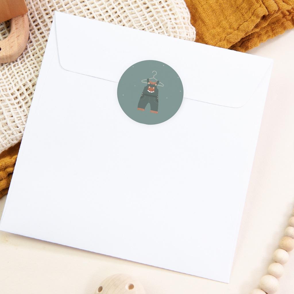 Sticker Enveloppe Naissance Salopette, décor renard pas cher