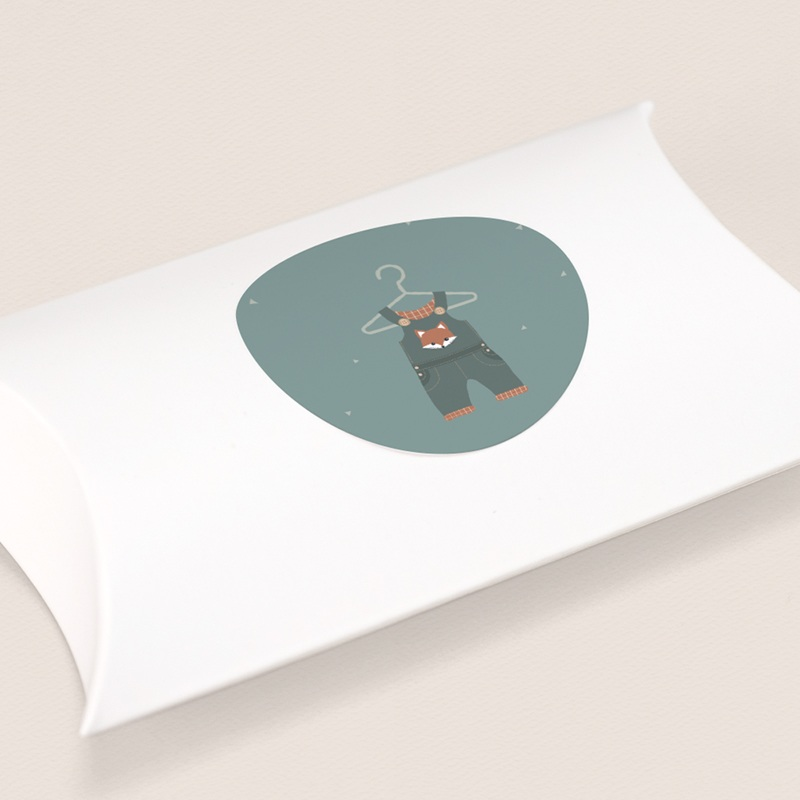 Sticker Enveloppe Naissance Salopette, décor renard