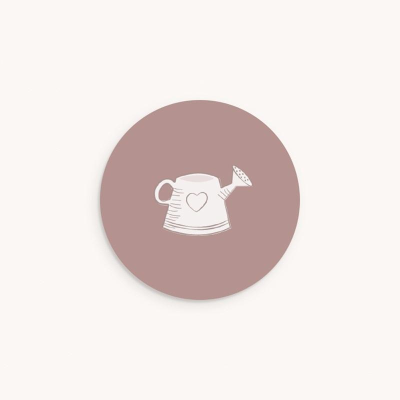 Sticker Enveloppe Naissance Elégance Jumelles, arrosoir, rose poudré