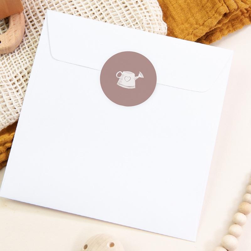 Sticker Enveloppe Naissance Elégance Jumelles, arrosoir, rose poudré pas cher