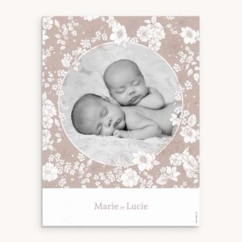 Affiche Déco Chambre Enfant Elégance Jumelles, portrait personnalisé