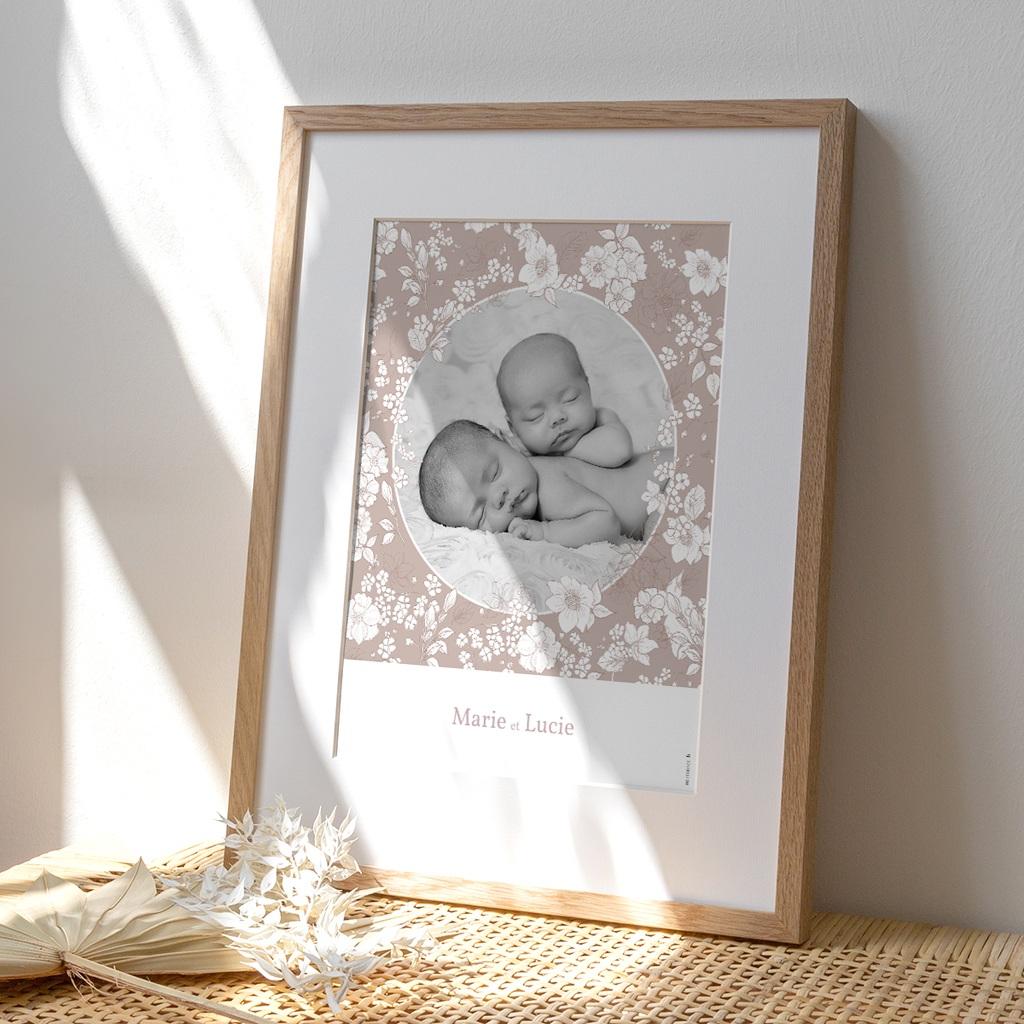 Affiche Déco Chambre Enfant Elégance Jumelles, portrait