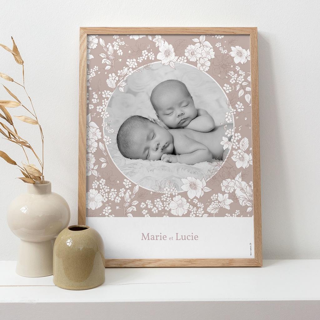 Affiche Déco Chambre Enfant Elégance Jumelles, portrait pas cher