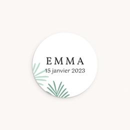 Sticker Enveloppe Naissance Toucan Pastel fille, Feuilles palmier
