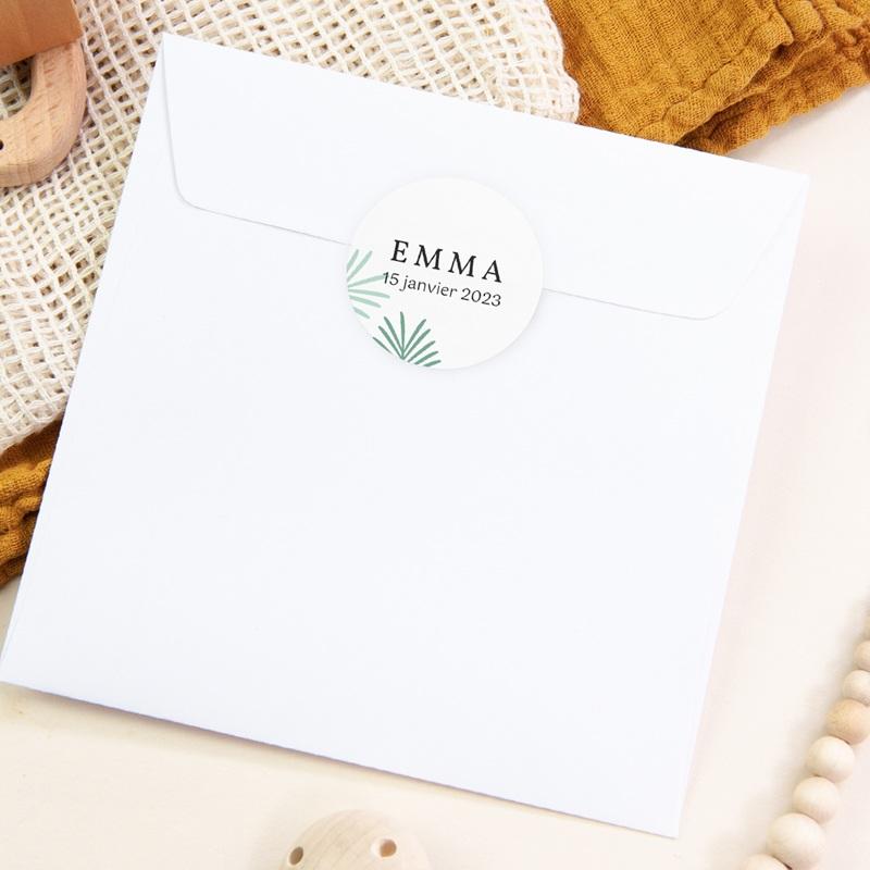 Sticker Enveloppe Naissance Toucan Pastel fille, Feuilles palmier pas cher