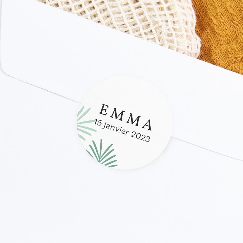 Sticker Enveloppe Naissance Toucan Pastel fille, Feuilles palmier gratuit