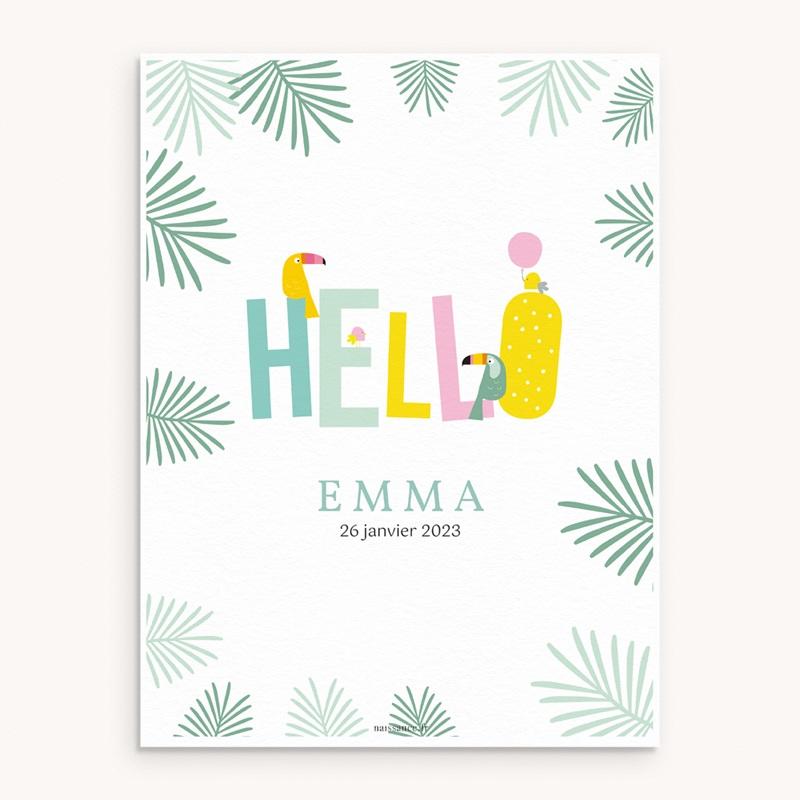 Affiche Déco Chambre Enfant Toucan Pastel fille