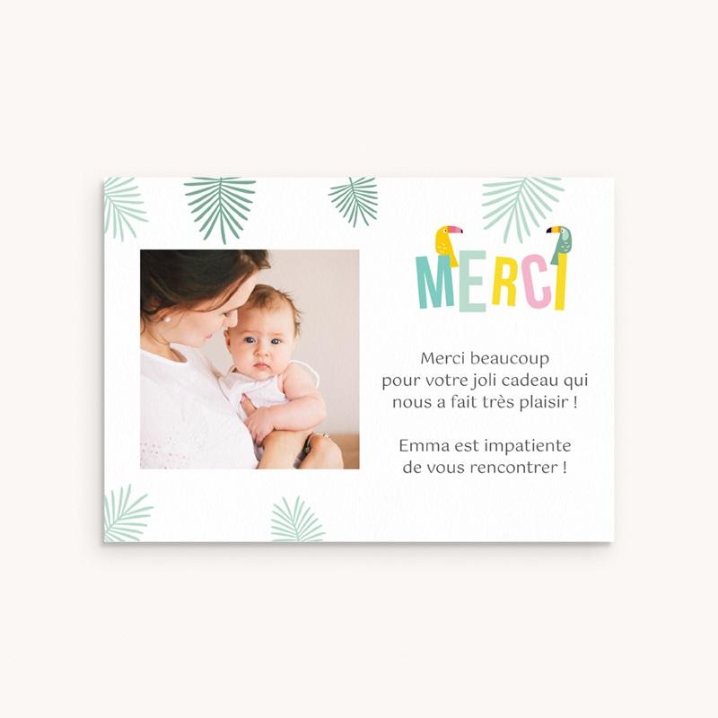 Carte de Remerciement Naissance Toucan Pastel fille