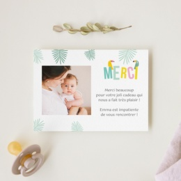 Carte de Remerciement Naissance Toucan Pastel fille gratuit