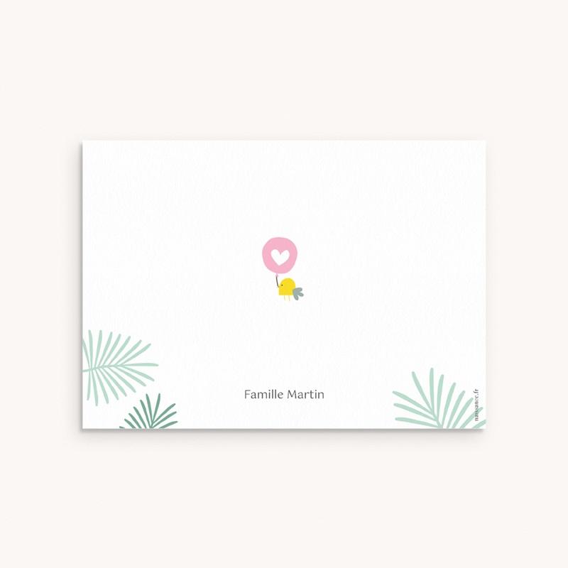 Carte de Remerciement Naissance Toucan Pastel fille pas cher