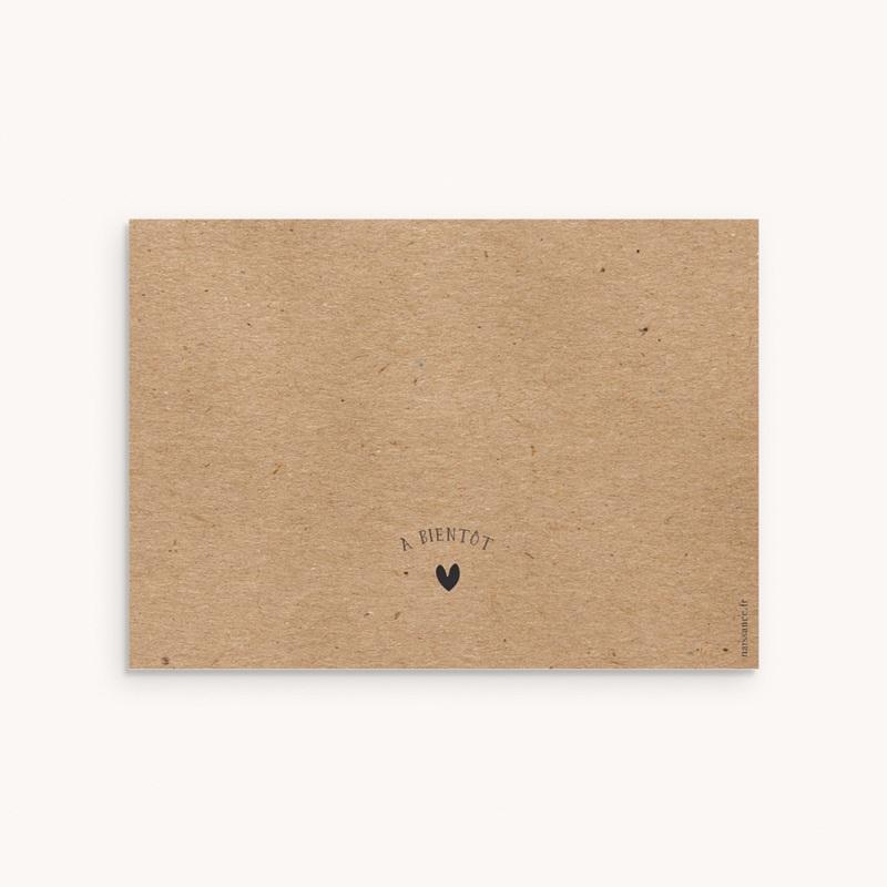 Carte de Remerciement Naissance Kraft Portrait pas cher