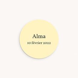 Sticker Enveloppe Naissance Bucolique Rond, Couronne fleurs