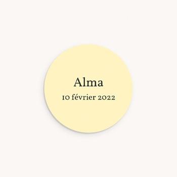 Sticker Enveloppe Naissance Bucolique Rond, Couronne fleurs personnalisé