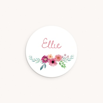 Sticker Enveloppe Naissance Bohème aquarelle, Fleurs, 4,5 cm