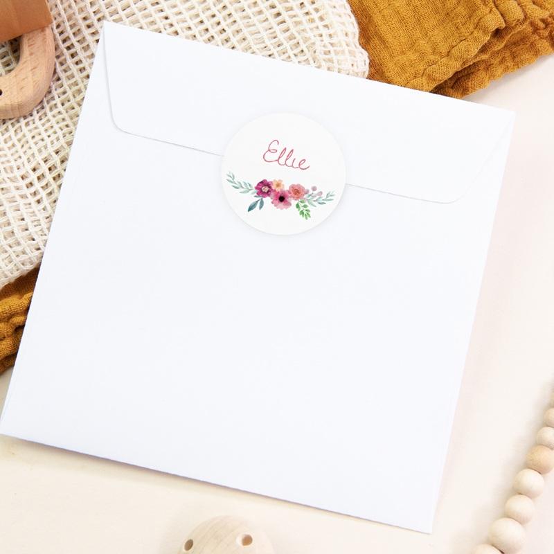 Sticker Enveloppe Naissance Bohème aquarelle, Fleurs, 4,5 cm pas cher