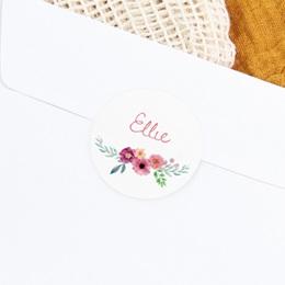 Sticker Enveloppe Naissance Bohème aquarelle, Fleurs, 4,5 cm gratuit