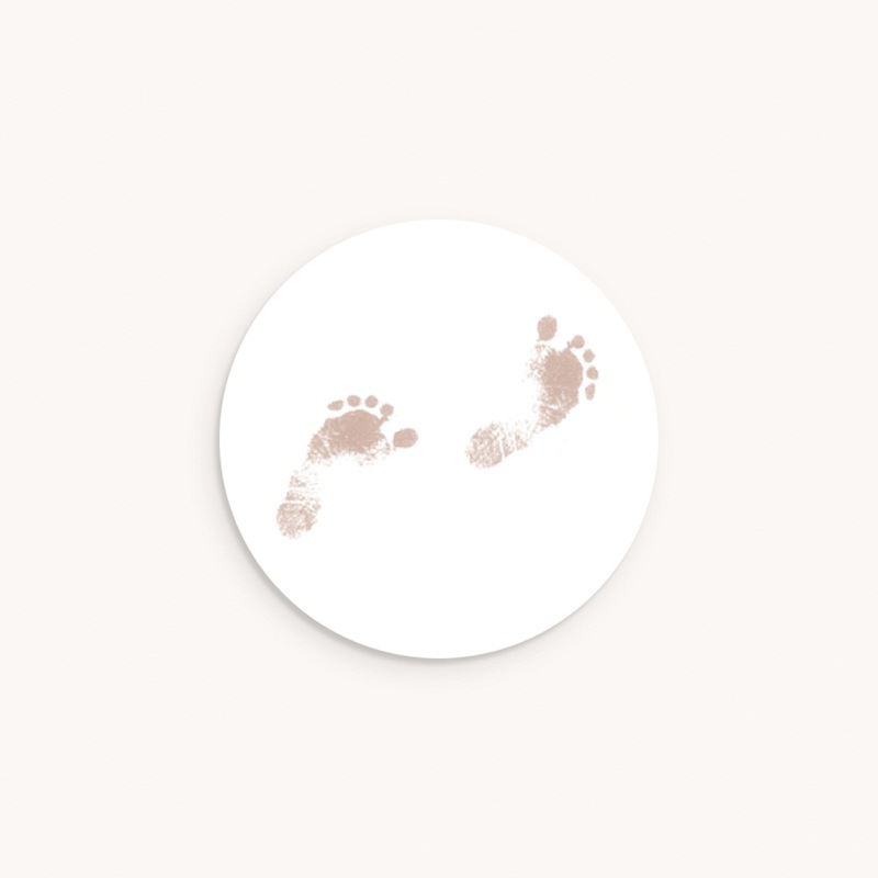 Sticker Enveloppe Naissance Petons sepia, 4,5 cm