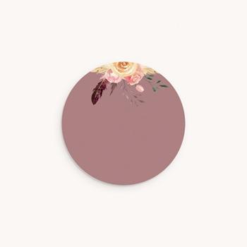 Sticker Enveloppe Naissance Boho Kraft Fleurs, Pourpre poudré