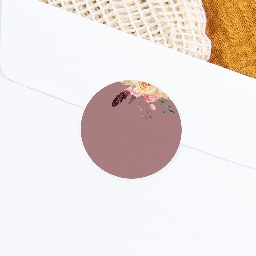 Sticker Enveloppe Naissance Boho Kraft Fleurs, Pourpre poudré gratuit
