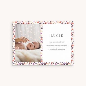 Carte de Remerciement Naissance Petit mot fleuri personnalisé