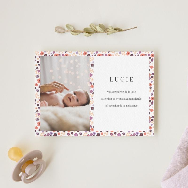 Carte de Remerciement Naissance Petit mot fleuri gratuit