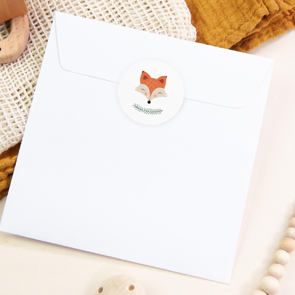 Sticker Enveloppe Naissance Joli Renard pas cher