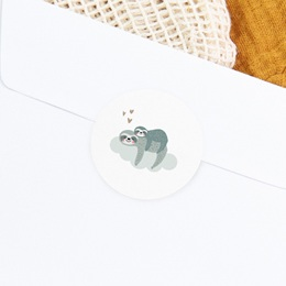 Sticker Enveloppe Naissance Petit Paresseux et sa maman gratuit