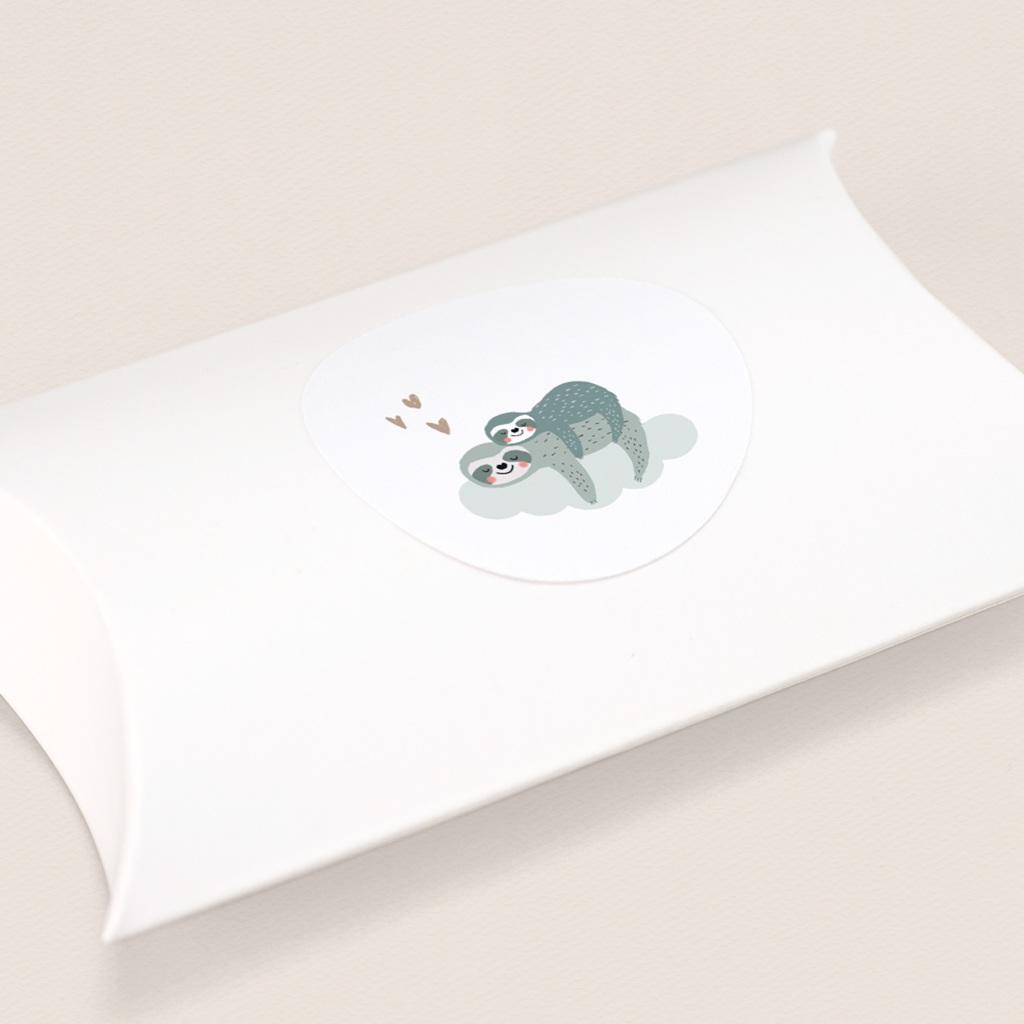 Sticker Enveloppe Naissance Petit Paresseux et sa maman