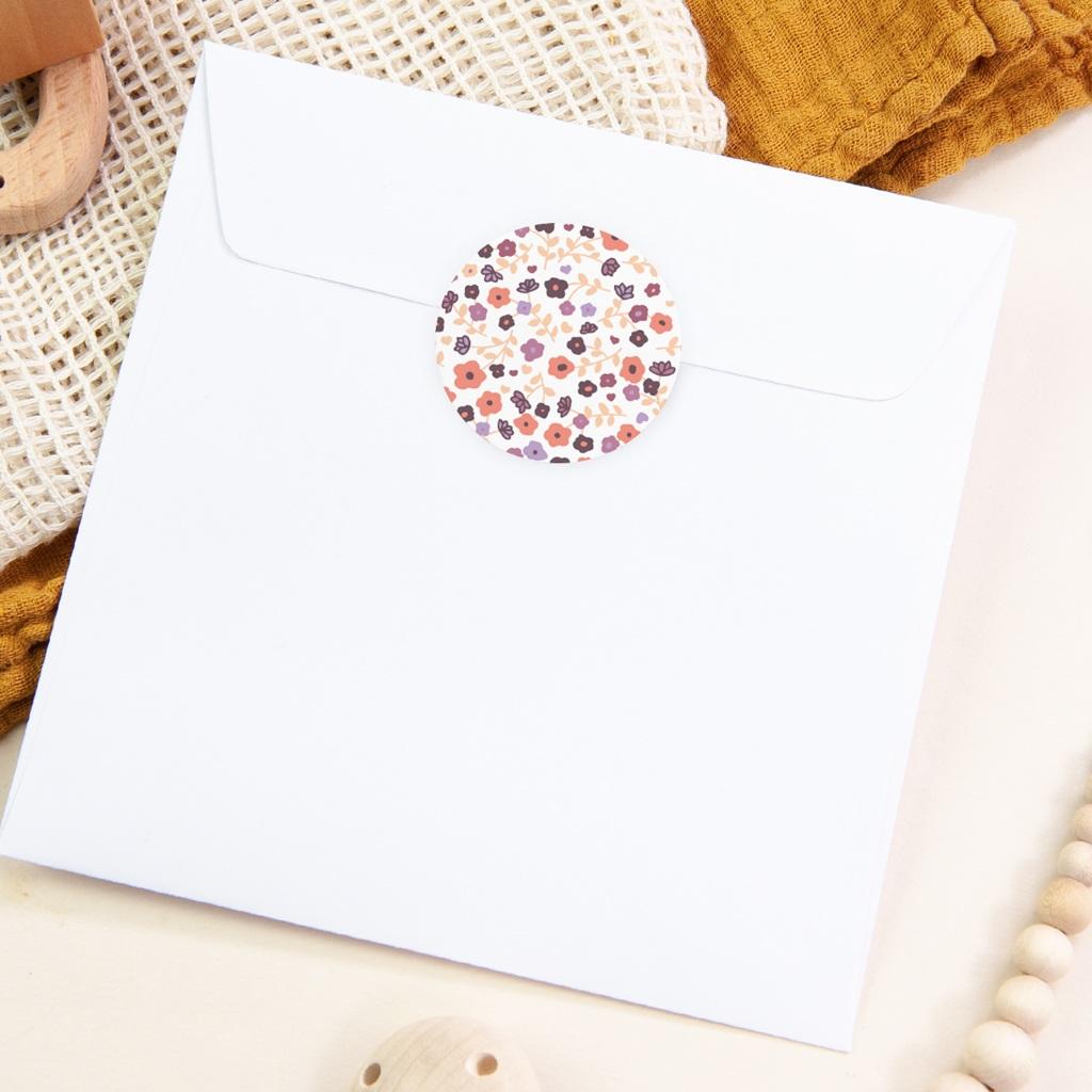Sticker Enveloppe Naissance Petit Mot Fleuri fille pas cher