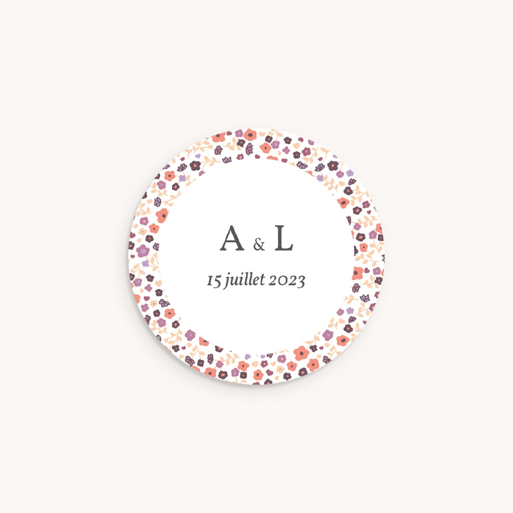 Sticker Enveloppe Naissance Petit Mot fleuri Jumelles