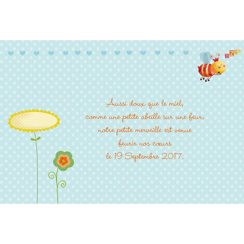 Faire-part de Naissance Honey bleu sans photo gratuit