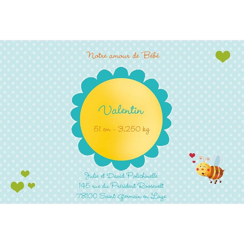 Faire-part de Naissance Honey bleu sans photo