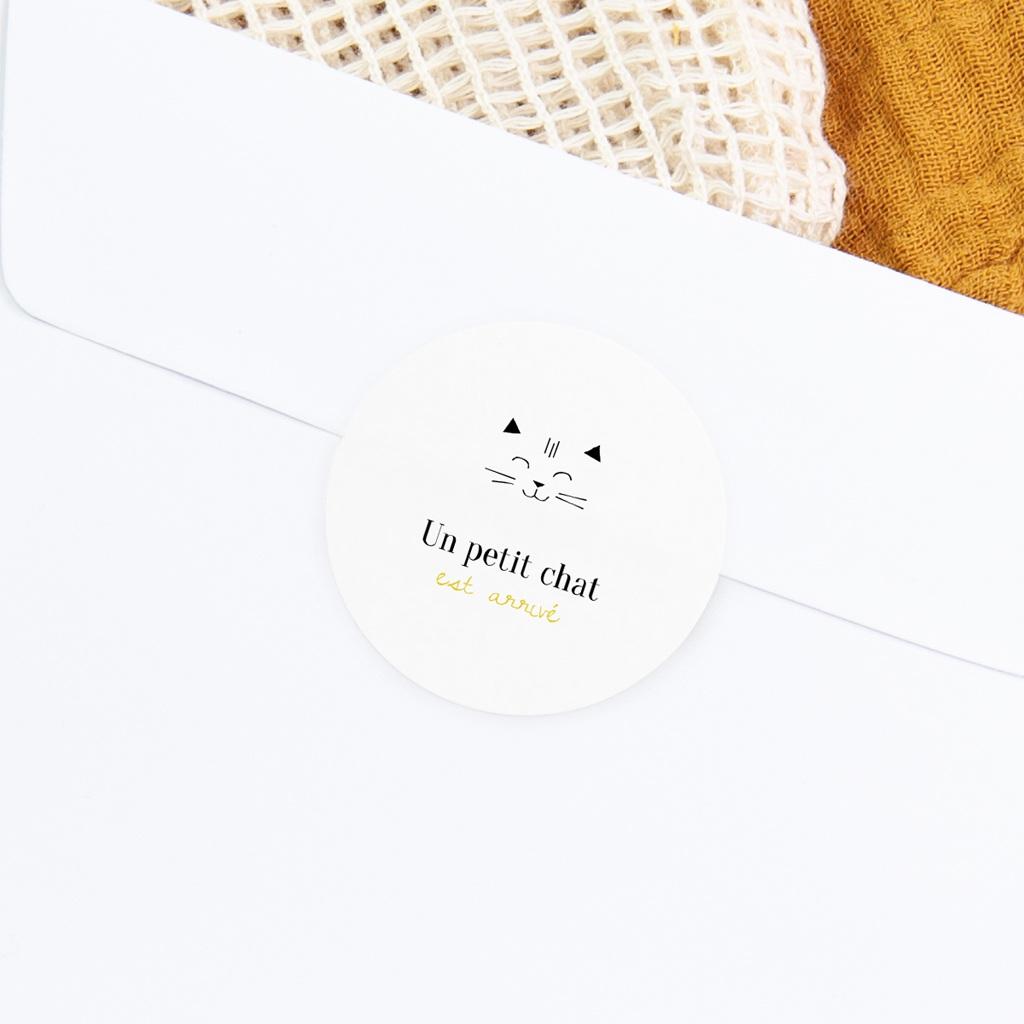 Sticker Enveloppe Naissance Les Petits Chats gratuit