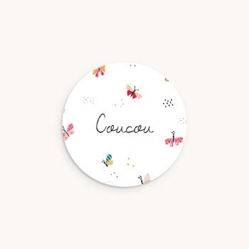 Sticker Enveloppe Naissance Papillons colorés