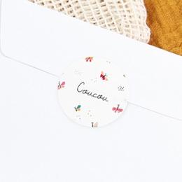 Sticker Enveloppe Naissance Papillons colorés gratuit