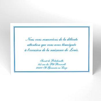 Carte de Remerciement Naissance Anglaise bleu personnalisé
