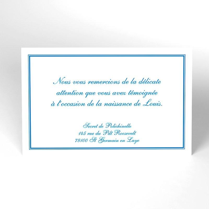 Carte de Remerciement Naissance Anglaise bleu
