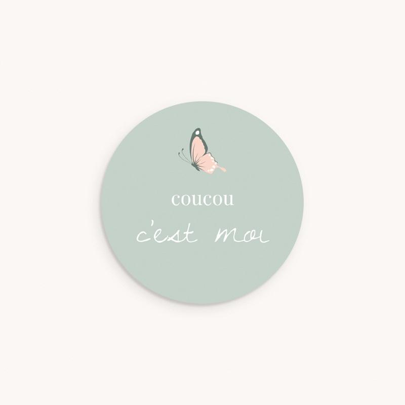 Sticker Enveloppe Naissance Bisou Papillon, vert d'eau