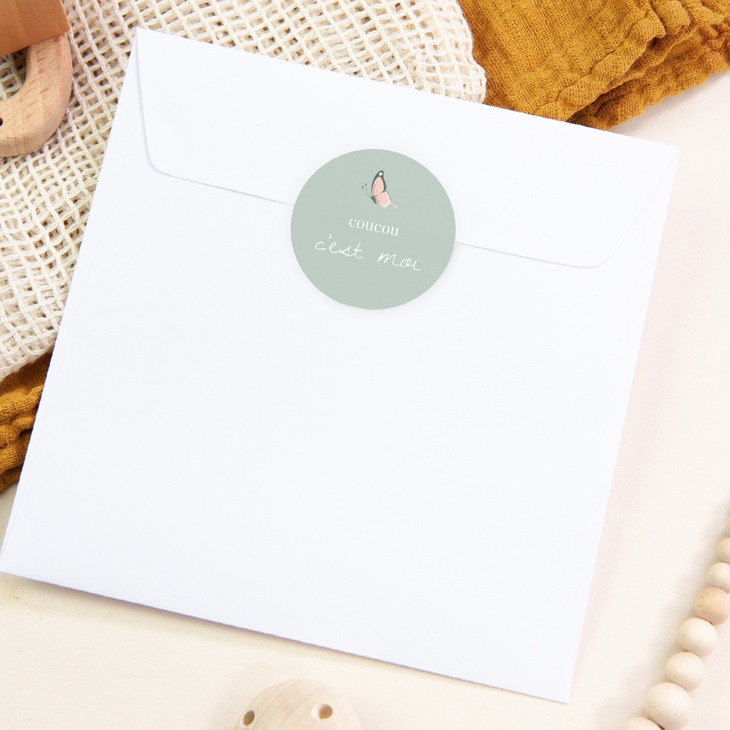 Sticker Enveloppe Naissance Bisou Papillon, vert d'eau pas cher