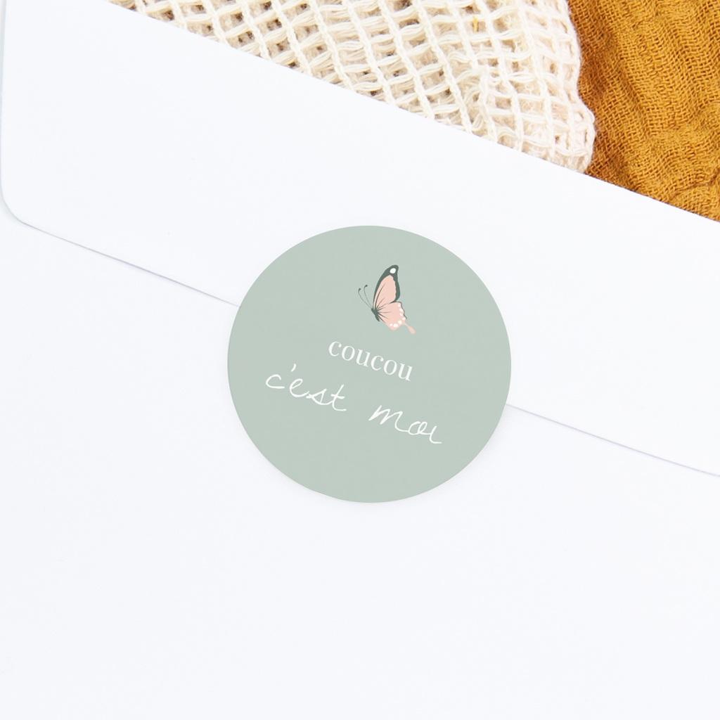 Sticker Enveloppe Naissance Bisou Papillon, vert d'eau gratuit
