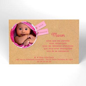 Carte de Remerciement Naissance Joli Coeur personnalisé