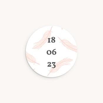 Sticker Enveloppe Naissance Tendre Envol, plumes roses
