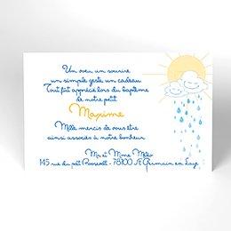 Carte de Remerciement Baptême Jour de Soleil