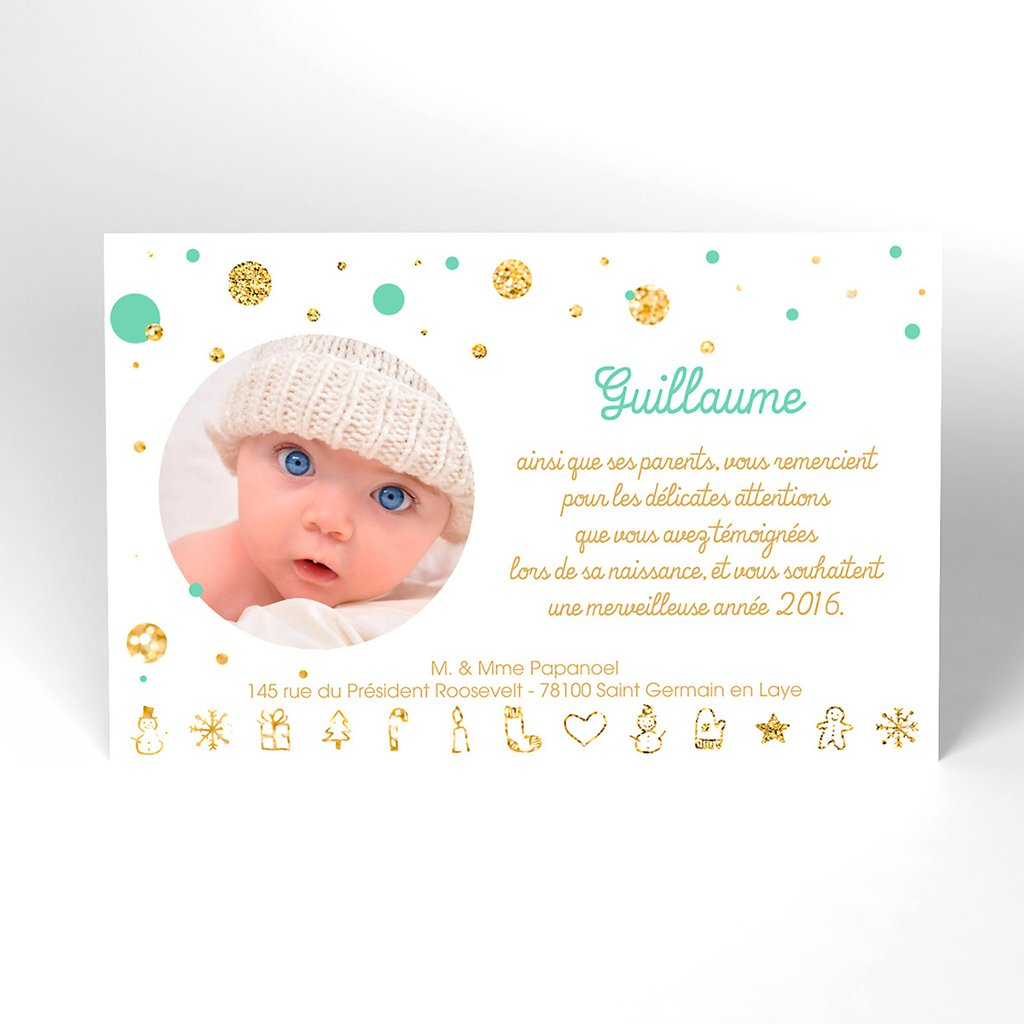 Carte de Remerciement Naissance Papa Noël